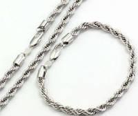 Набор жгут цепочка и браслет белая позолота (GF795)