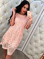 Летнее кружевное женское платье Розовый, Л