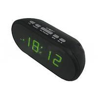 Led часы с будильником VST 712-2 зеленые, кварцевый стабилизатор, автоматический повтор сигнала