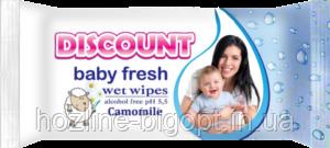 DISCOUNT Влажные салфетки для детей 40 шт. РОМАШКА