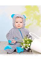 Слингокомбинезон велюровый для мальчика серый с голубым (мишки)