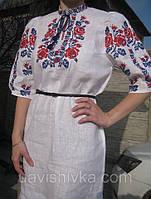 """Сукня жіноча з білого 100% льону """"Олеся"""" з вишивкою квітами """"Троянди"""" червоними і синіми нитками"""