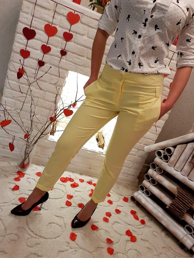 Д656  Женские брюки  с подворотом  Лимонный