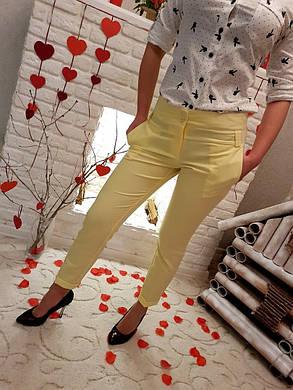 Д656  Женские брюки  с подворотом  Лимонный, фото 2