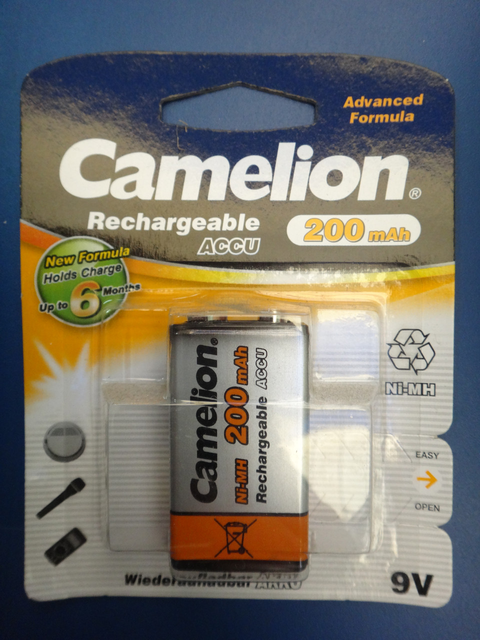 Аккумулятор Крона Camelion 9V 200mAh PP3 Ni-MH RECHARGEABLE New Formula