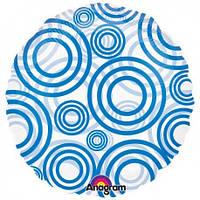 Фольгированный шар круг прозрачный с синими кружочками 44 см