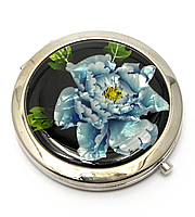 Зеркальце компактное Синие цветы