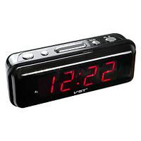 Электронные часы от сети 220 V с LED дисплеем VST 738-1 красные, будильник, резервное питание 2хААА