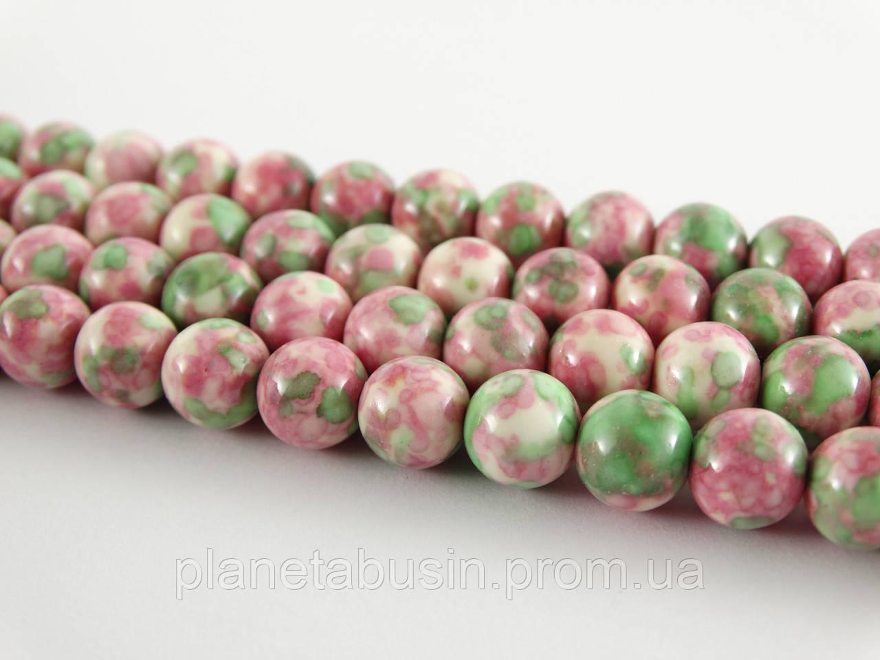 8 мм Розово-зелёный Агат, CN191, Натуральный камень, Форма: Шар, Отверстие: 1мм, кол-во: 47-48 шт/нить