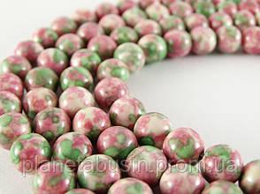 8 мм Розово-зелёный Агат, CN191, Натуральный камень, Форма: Шар, Отверстие: 1мм, кол-во: 47-48 шт/нить, фото 3