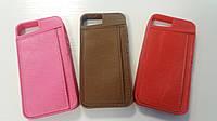 Оригинальный резиновый чехол-накладка с карманом из искусственной кожи для iphone 5