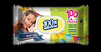 100% ЧИСТОТИ Вологі серветки з пластиковою кришкою для дітей 100 шт. АЛОЕ ВІРА