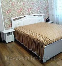 """Белая кровать с мягким изголовьем """"Миледи"""" (200*200см.), массив - сосна, ольха, береза, дуб., фото 2"""