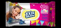 100% ЧИСТОТЫ Влажные салфетки с пластиковой крышкой для детей 100 шт. РОМАШКА
