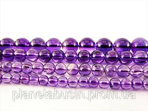 8 мм Аметист высокое качество, CN109, Натуральный камень, Форма: Шар, Отверстие: 1 мм, кол-во: 47-48 шт/нить, фото 2