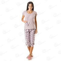 Турецкий бежевый комплект двойка футболка + бриджи норма коттон Турция  DRM9650 купить домашнюю одежду оптом дешево