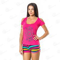 Легкий летний комплект для дома двойка Dalmina футболка + шорты норма Турция  DLMN334_14