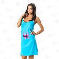 Бирюзовая красивая ночнушка-туника Dalmina норма Турция  DLMN6318 купить пижаму, домашние комплекты оптом недорого