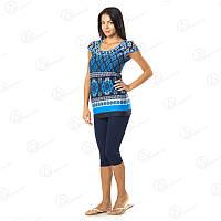 Стильный домашний комплект двойка Веселый Узор Vetex Carolina футболка + бриджи Турция  KRLN95105 купить пижаму, домашние комплекты для дома оптом