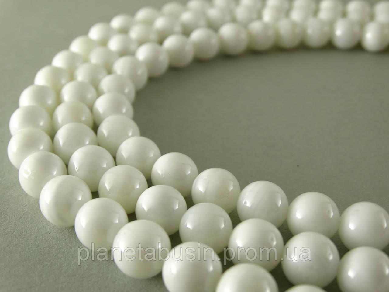 8 мм Белый Перламутр, CN110, Натуральный камень, Форма: Шар, Отверстие: 1 мм, кол-во: 47-48 шт/нить