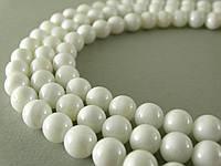 Белый Перламутр, Натуральный камень, На нитях, бусины 8 мм, Круглые, Отверстие 1 мм, количество: 47-48 шт/нить