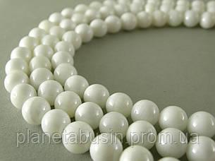 8 мм Белый Перламутр, CN110, Натуральный камень, Форма: Шар, Отверстие: 1 мм, кол-во: 47-48 шт/нить, фото 2