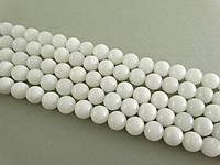 Бусы из Белого Нефрита, Натуральный камень,На нитях, бусины 8 мм, Шар, Отверстие 1мм, количество 47-48 шт/нить