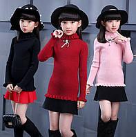 Гольф трикотажный для девочек, свитер, водолазка, р. 110-120-130-150-160