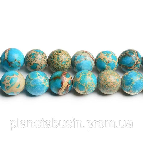 10 мм Варисцит, Натуральный камень, На нитях, бусины 10 мм, Круглые, Отверстие 1,5 мм, количество: 38-40 шт