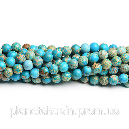 8 мм Варисцит классический, CN113, Натуральный камень, Форма: Шар, Отверстие: 1 мм, кол-во: 47-48 шт/нить, фото 2
