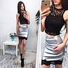 Костюмчик топ с кружевным юбка єко кожа, фото 6