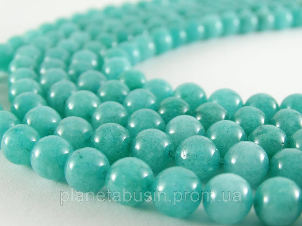8 мм Голубой Кварц, CN115, Натуральный камень, Форма: Шар, Отверстие: 1 мм, кол-во: 47-48 шт/нить