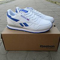 Женские кроссовки Reebok,натуральная кожа ,белые с синими вставками на синей подошве
