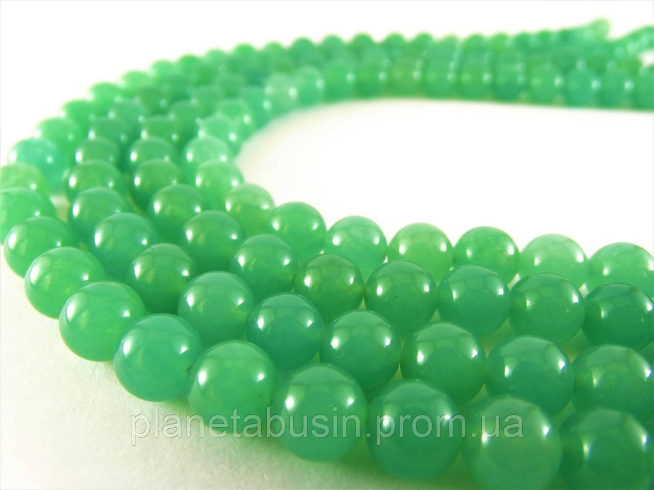 8 мм Зелёный Нефрит, CN118, Натуральный камень, Форма: Шар, Отверстие: 1 мм, кол-во: 47-48 шт/нить