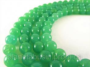 8 мм Зелёный Нефрит, CN118, Натуральный камень, Форма: Шар, Отверстие: 1 мм, кол-во: 47-48 шт/нить, фото 2