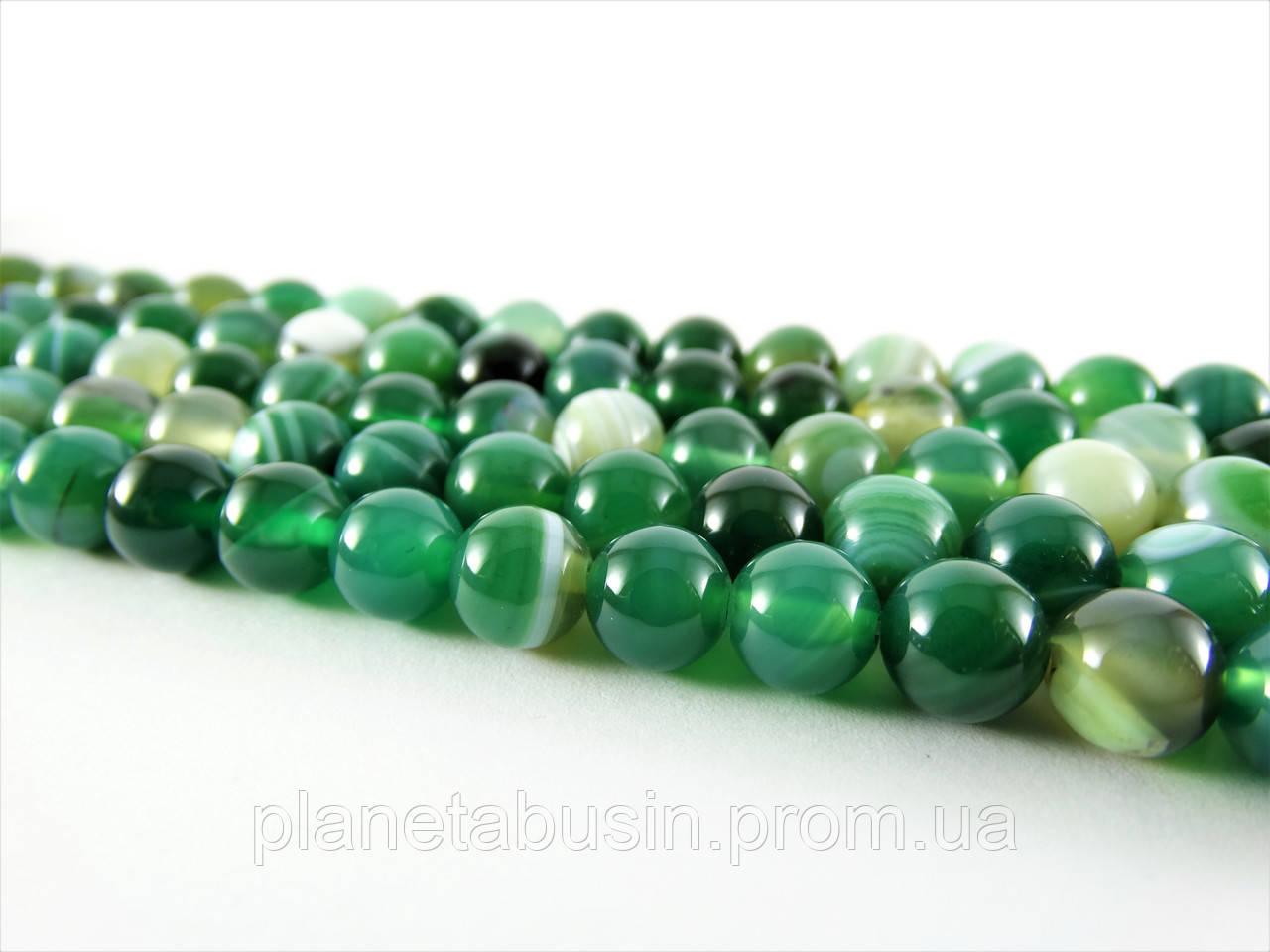 8 мм Зелёный Полосатый Агат, CN190, Натуральный камень, Форма: Шар, Отверстие: 1мм, кол-во: 47-48 шт/нить