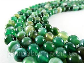 8 мм Зелёный Полосатый Агат, CN190, Натуральный камень, Форма: Шар, Отверстие: 1мм, кол-во: 47-48 шт/нить, фото 2
