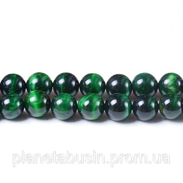 8 мм Зелёный Тигровый Глаз, CN119, Натуральный камень, Форма: Шар, Отверстие: 1 мм, кол-во: 47-48 шт/нить