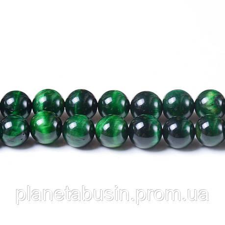 8 мм Зелёный Тигровый Глаз, CN119, Натуральный камень, Форма: Шар, Отверстие: 1 мм, кол-во: 47-48 шт/нить, фото 2