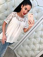 Красивая женская блузка с кружевом Белый