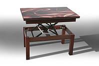 Стол трансформер Флай стекло 92х60,5х50/121х92х75 (орех темный)