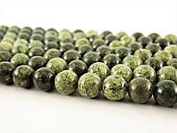 Бусины Змеевика, Натуральный камень, На нитях, бусины 8 мм, Круглые, Отверстие 1 мм, количество: 47-48 шт/нить
