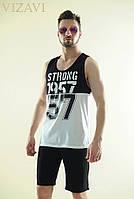 Мужской спортивный костюм шорты+майка черно-белого цвета. Материал хлопок. Размер 46, 48, 50, 52.