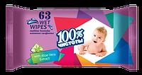 100% ЧИСТОТЫ Влажные салфетки для детей 63 шт. АЛОЭ ВЕРА