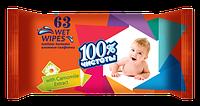 100% ЧИСТОТИ Вологі серветки для дітей 63 шт. РОМАШКА