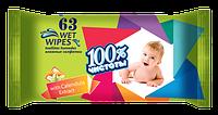 100% ЧИСТОТЫ Влажные салфетки для детей 63 шт. КАЛЕНДУЛА И ВИТАМИН Е