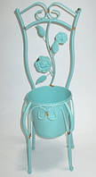 Кашпо декоративное Стул 48 см, бирюзовое