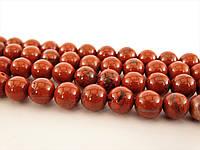 Бусины Красной Кирпичной Яшмы, На нитях, бусины 8 мм, Круглые, Отверстие 1 мм, количество: 47-48 шт/нить