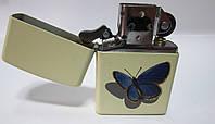 Зажигалка  ZIPPO (24676)бежевая, матовая, рисунок -  бабочка, фото 1