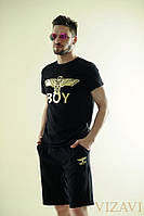 Мужской спортивный костюм шорты с футболкой черного цвета. Материал: хлопок. Размер 46, 48, 50, 52